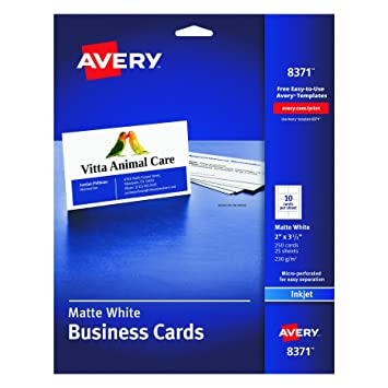 Amazon avery business cards for inkjet printers matte avery business cards for inkjet printers matte white pack of 25 10 solutioingenieria Choice Image