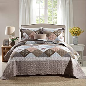 NEWLAKE Quilt Bedspread Sets-Checkered Floral Reversible Coverlet Set,King Size