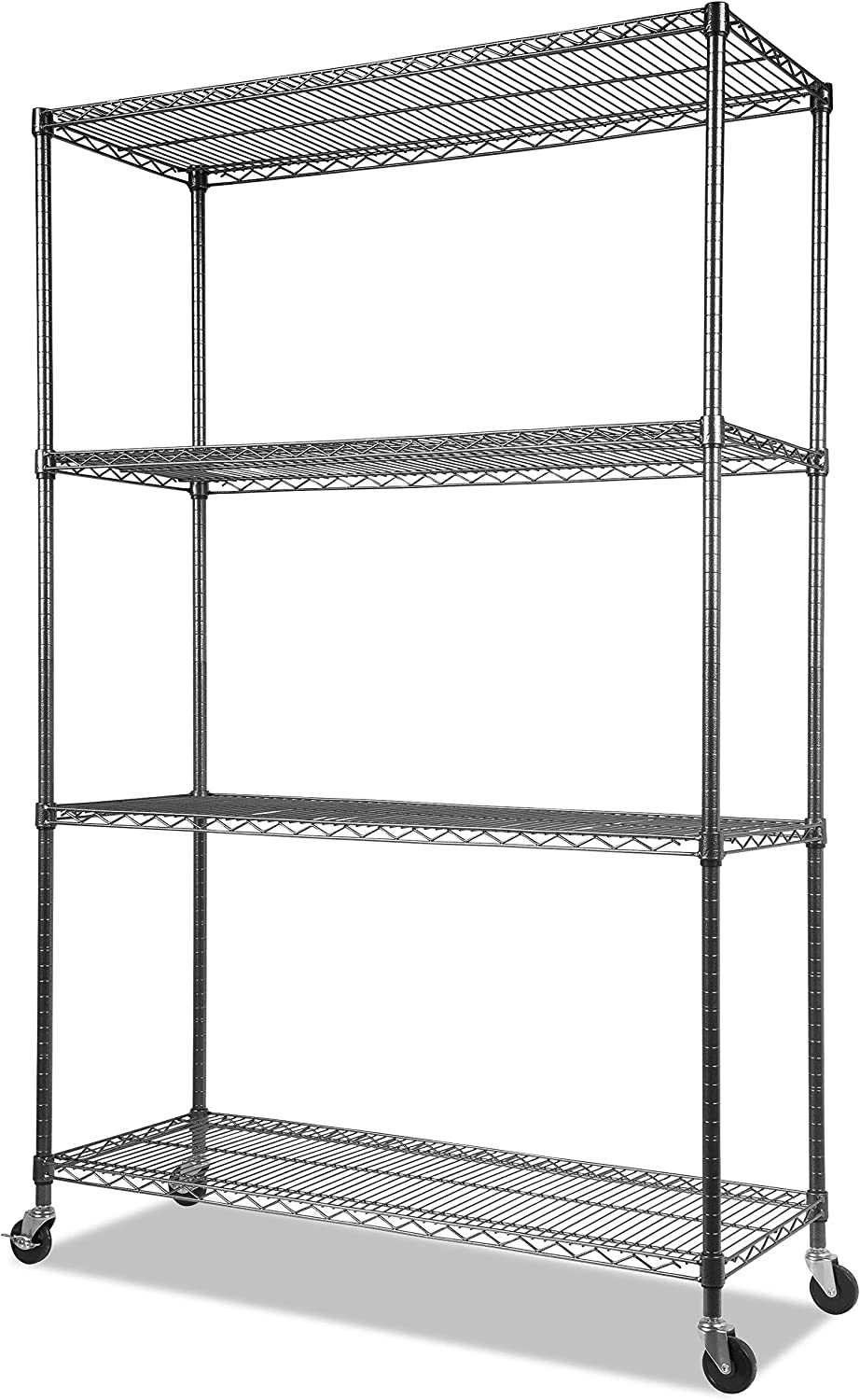 "Alera Complete Wire Shelving Unit w/Caster, 48"" x 18"" x 72"", Black Anthracite"