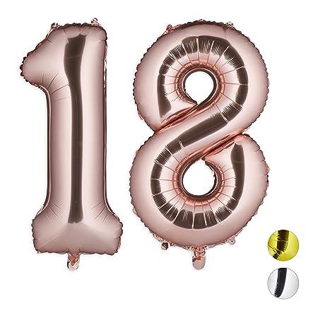Relaxdays Globos de Cumpleaños Número 18, Aluminio, Oro Rosa ...
