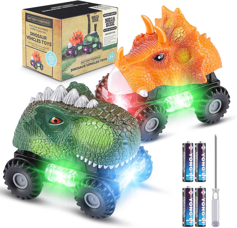 Vimzone Vehículos de Dinosaurios, Juguetes de Dinosaurios para automóviles con luz LED y Sonido Realista y Rueda de llanta Grande, Autos Dino de plástico no tóxicos para niños (Paquete de 2)