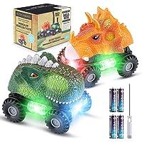 Vimzone Coche de Dinosaurio, 2 Pcs Juguetes de Dinosaurios con Luces LED y Sonido, Autos Dino de plástico no tóxicos…