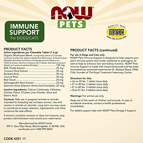 NOW Pet Health, Immune Support Supplement, Formulated for Cats Dogs, NASC Certified, 90 Chewable Tablets