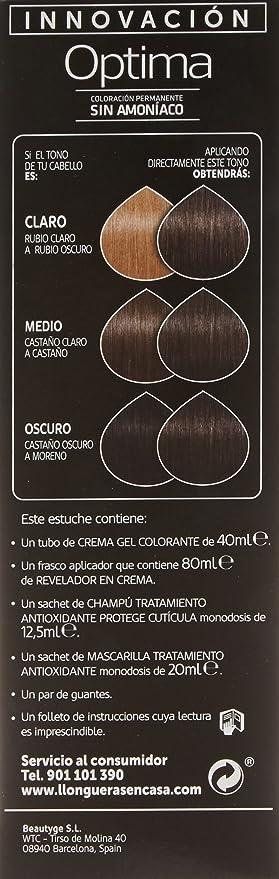 Llongueras Optima Tinte de Cabello Permanente sin Amoniaco Tono #5 Castaño Claro