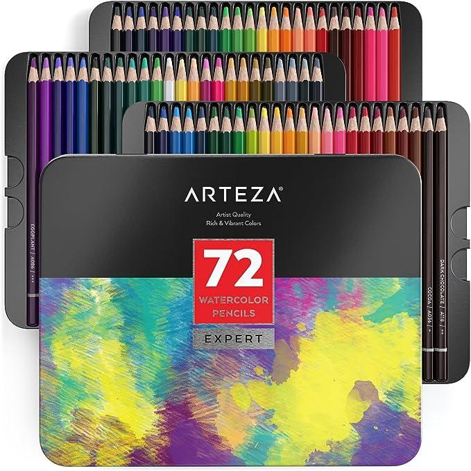 Arteza Professional Watercolour Pencils in Storage Tin Multi... Set of 72