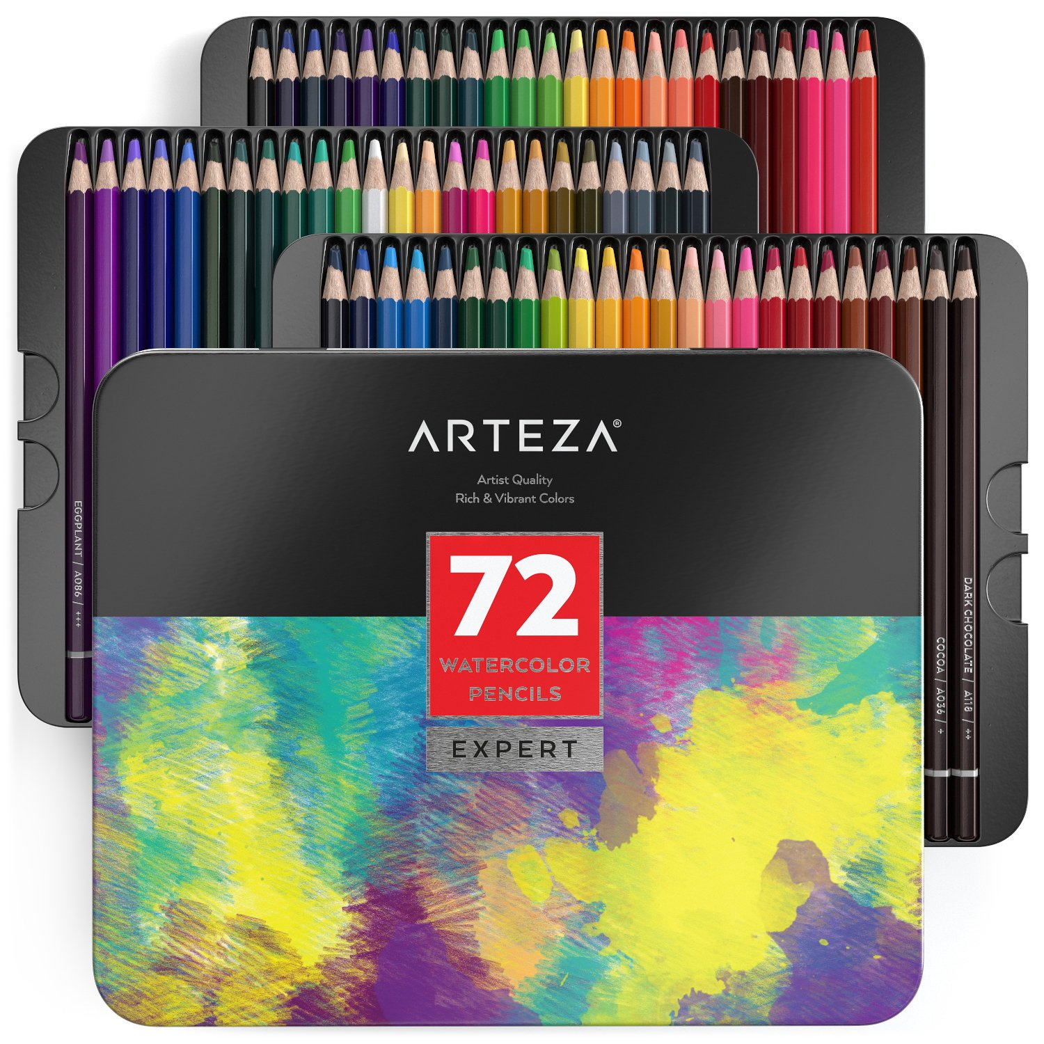 Arteza Professional Watercolor Pencils in Storage Tin, Set of 72, Multi Colored Art Drawing Pencils in Bright Assorted Shades, Great for Blending and Layering, for Beginners & Pro Artists ARTZ-8073