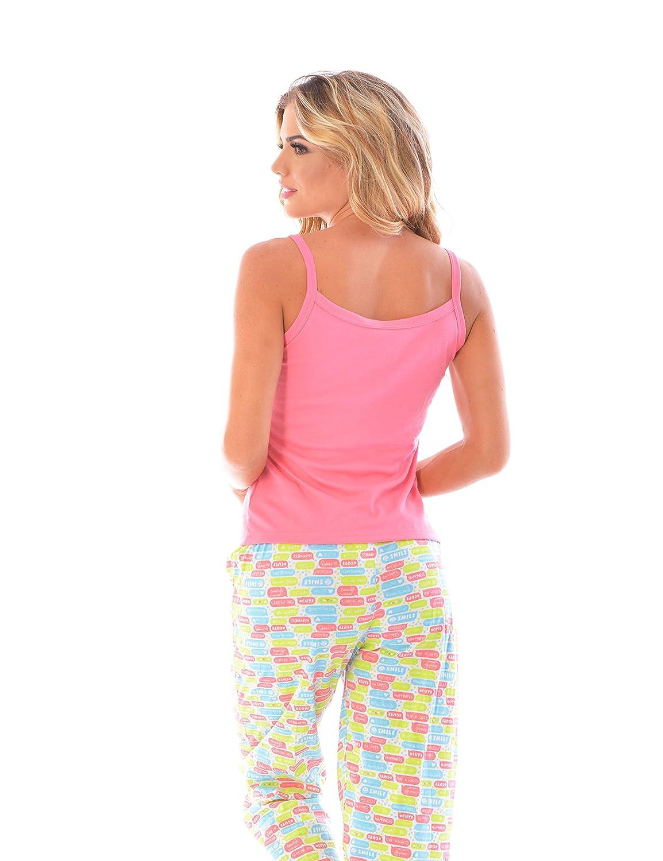 BELLA MIMOSA Womens Pajama Pants + Strap Camisole Tank Top Set/2 Piece PJ Matching Cami Top and Pants at Amazon Womens Clothing store: