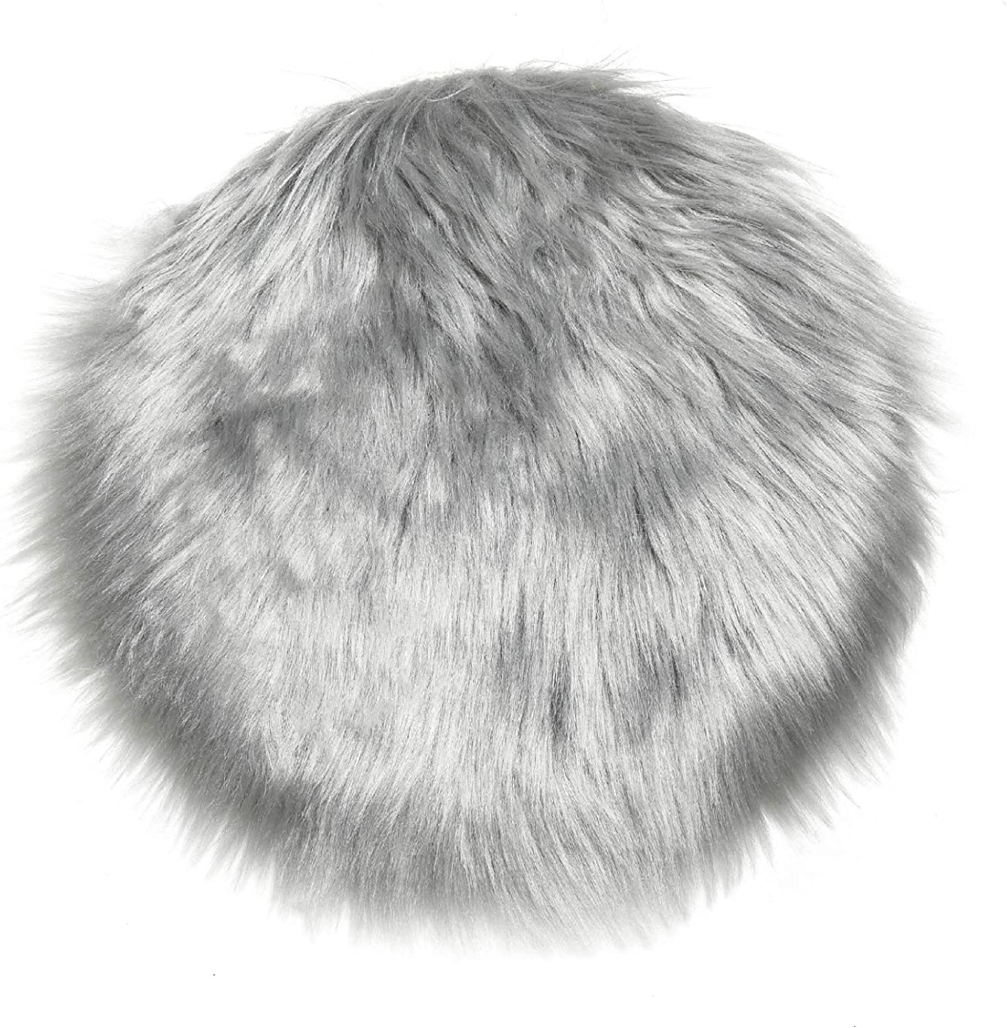 AQUEENLY Sheepskin Cushion Faux Fur Seat Cover Round Area Rugs for Office Bedroom Living Room, 12 inches (Grey)