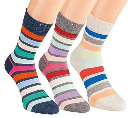 4d6be2736b072 Vitasox Damen Socken Ringel ohne Gummi ohne Naht 6/12 Paar