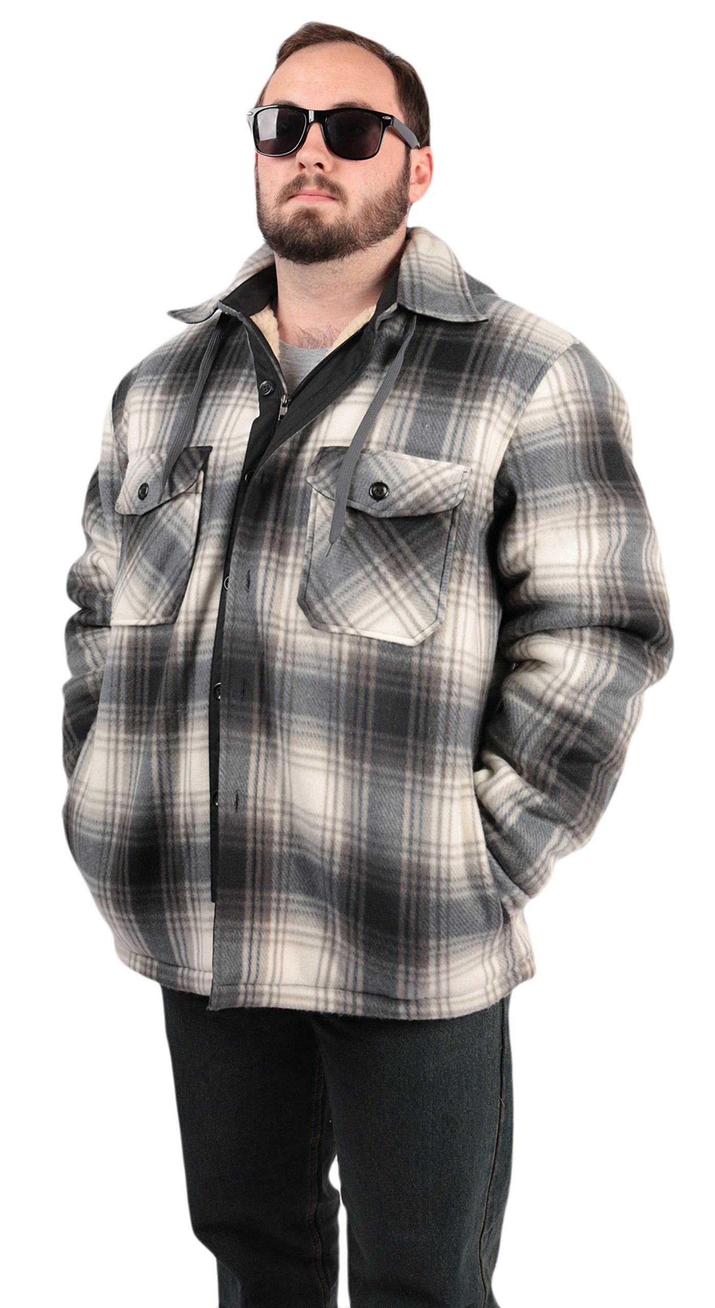 Woodland Supply Co. Men's Plaid Hooded Button Up Sherpa Lined Shirt Jacket,Large,Black/Grey