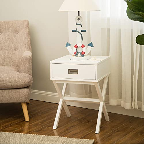 Glitzhome X-Design Wood End Table Rustic Night Stand with Drawer 15.75 Espresso Accent Table