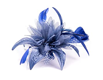 Navy Blue Feather Comb Fascinator Ladies Day Royal Ascot Weddings ... 5ac731440c5