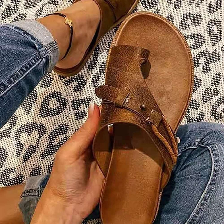 Sandalias de plataforma con estilo Sandalia ortopédica para mujer, sandalias de corrección de juanetes, sandalias de punta abierta de cuero ligero, chanclas de tacón plano, zapatos de playa
