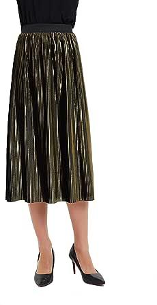 Tronjori Womens Golden Metallic Shiny A Line Accordion Elastic Waistband Pleated Midi Skirt