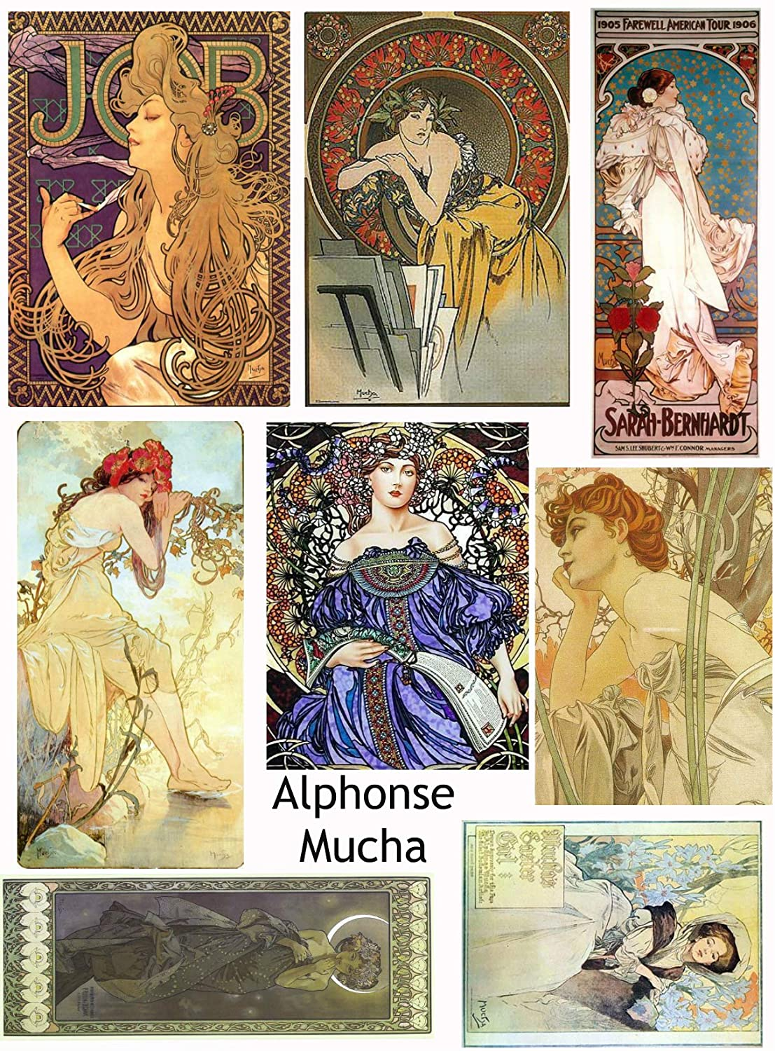 Vintage Printed Alphonse Mucha Reproduction Cards Collage Sheet #107 Scrapbooking, Decoupage, Labels Paper Moon Media