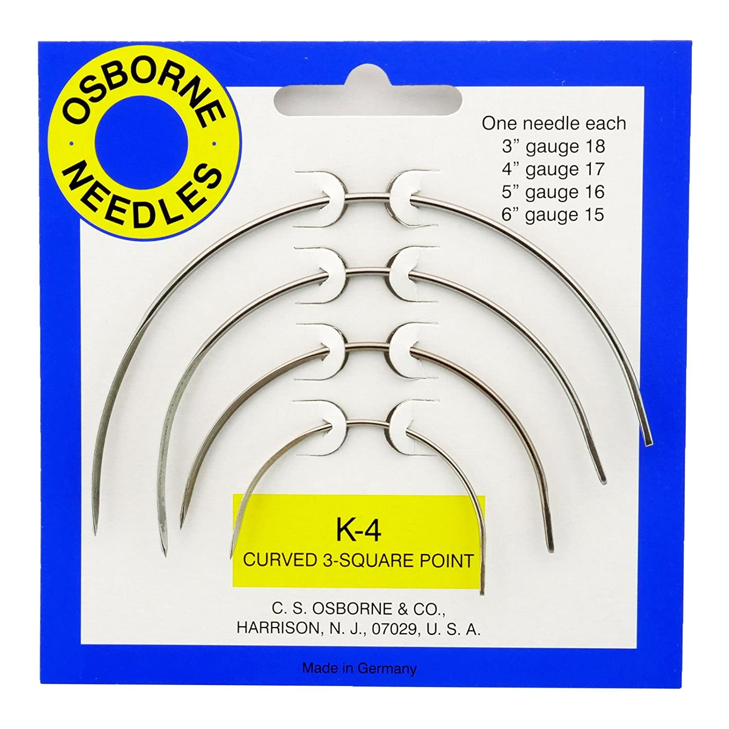 S Osborne K-4 Curved 3 Square Point Needle Card Include 3 4 5 and 6 Long C Upholstery Tool