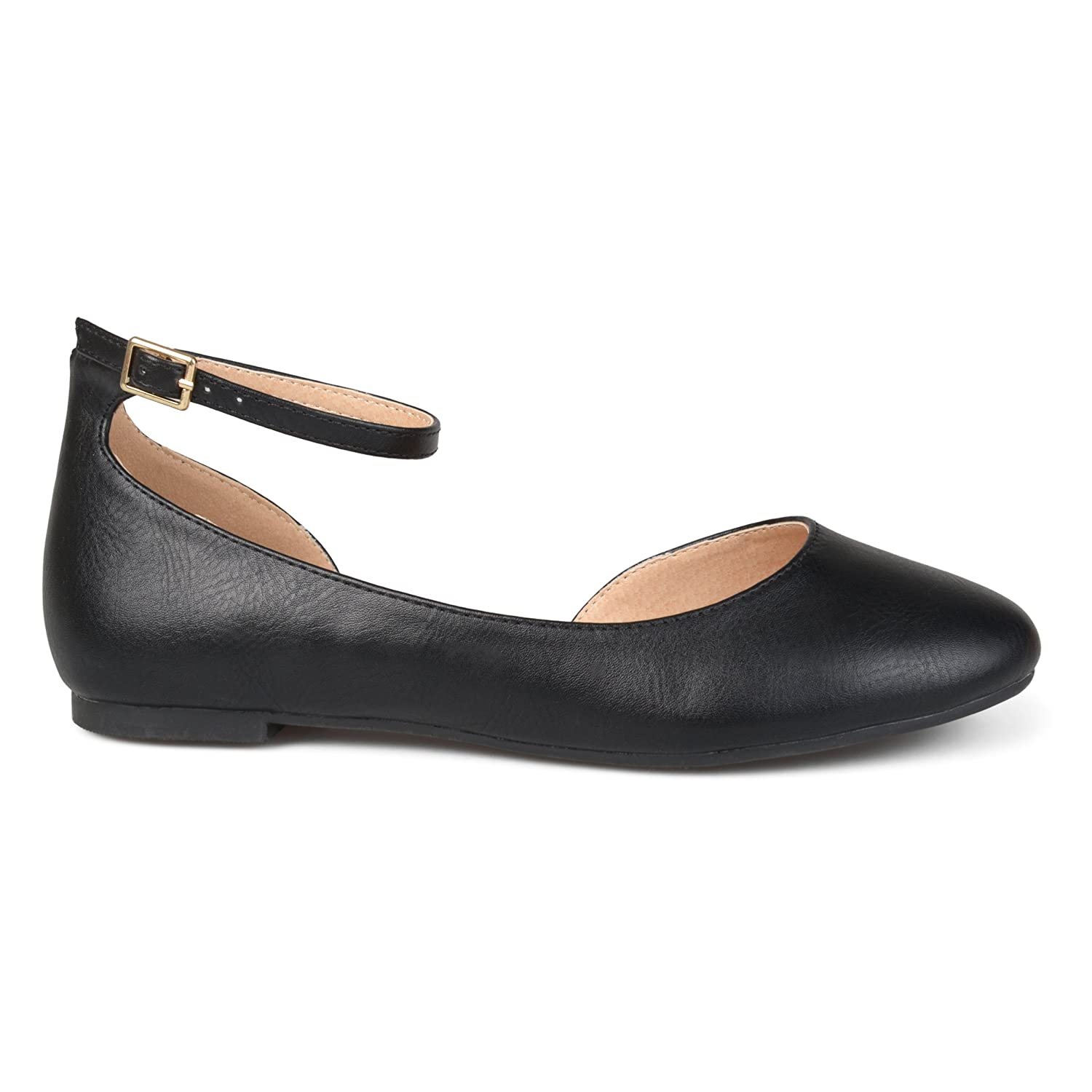 Brinley Co Womens ARO Faux Leather Wide Width Ankle Strap Round Toe D'Orsay Flats B074WCFZWJ 7.5 B(M) US|Black