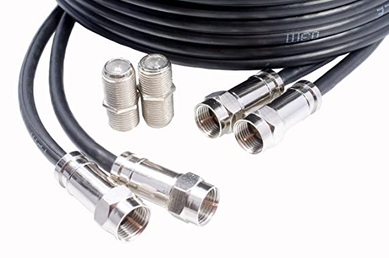 Mast Digital YCAB03I1A - 15m Extensión Cable coaxial twin ideal para Satélite TV, Cable Coaxial Noir, 4 x Conectores F Macho: Amazon.es: Electrónica
