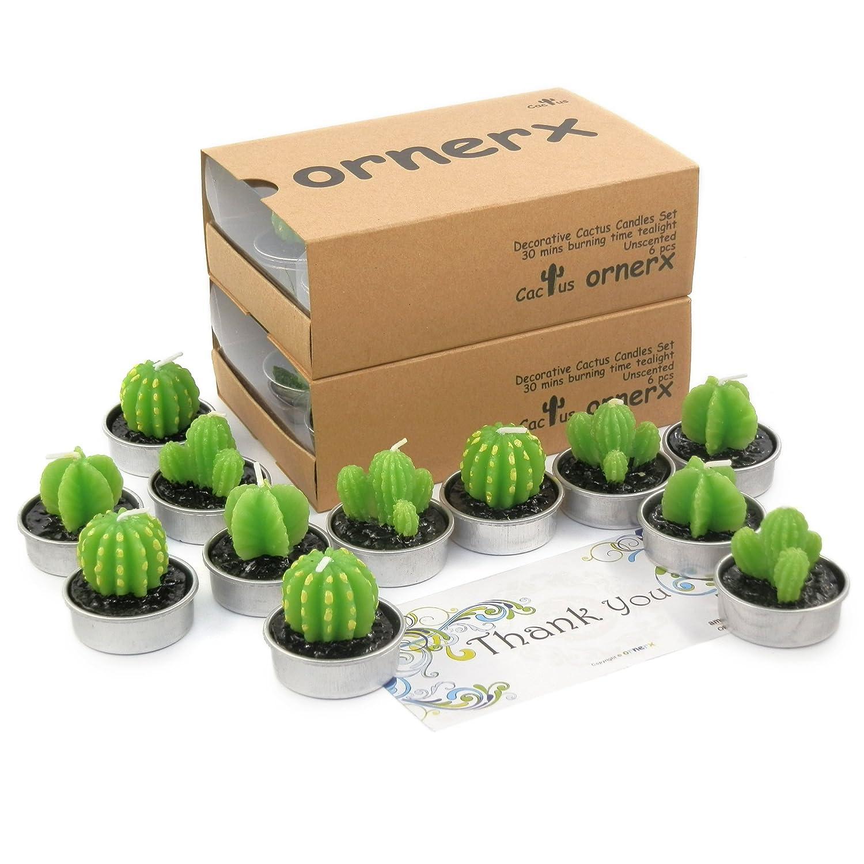 ornerx 12 Pcs Cactus Tealight Candles Home Decoration Gifts cactuscandleset01