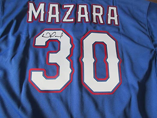 15319eca390 ... Nomar Mazara Signed Texas Rangers Jersey WPROOF, Picture of Nomar  Signing For Us, ...