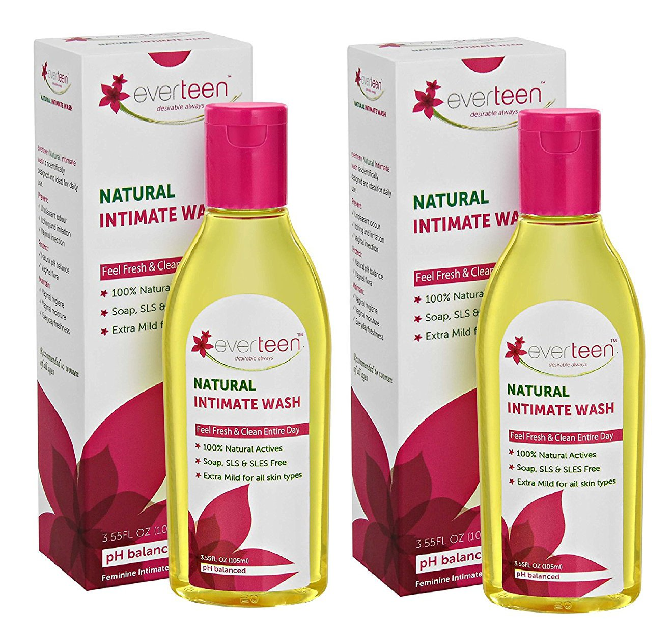Everteen Natural Intimate Feminine Wash 105ml (Pack of 2)