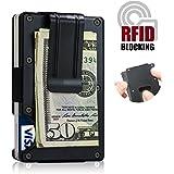 Money Clip Case Wallets for Men,RFID Blocking Slim Minimalist Aluminum Business Card Holder,Front Pocket Wallet for Men Women (Black)
