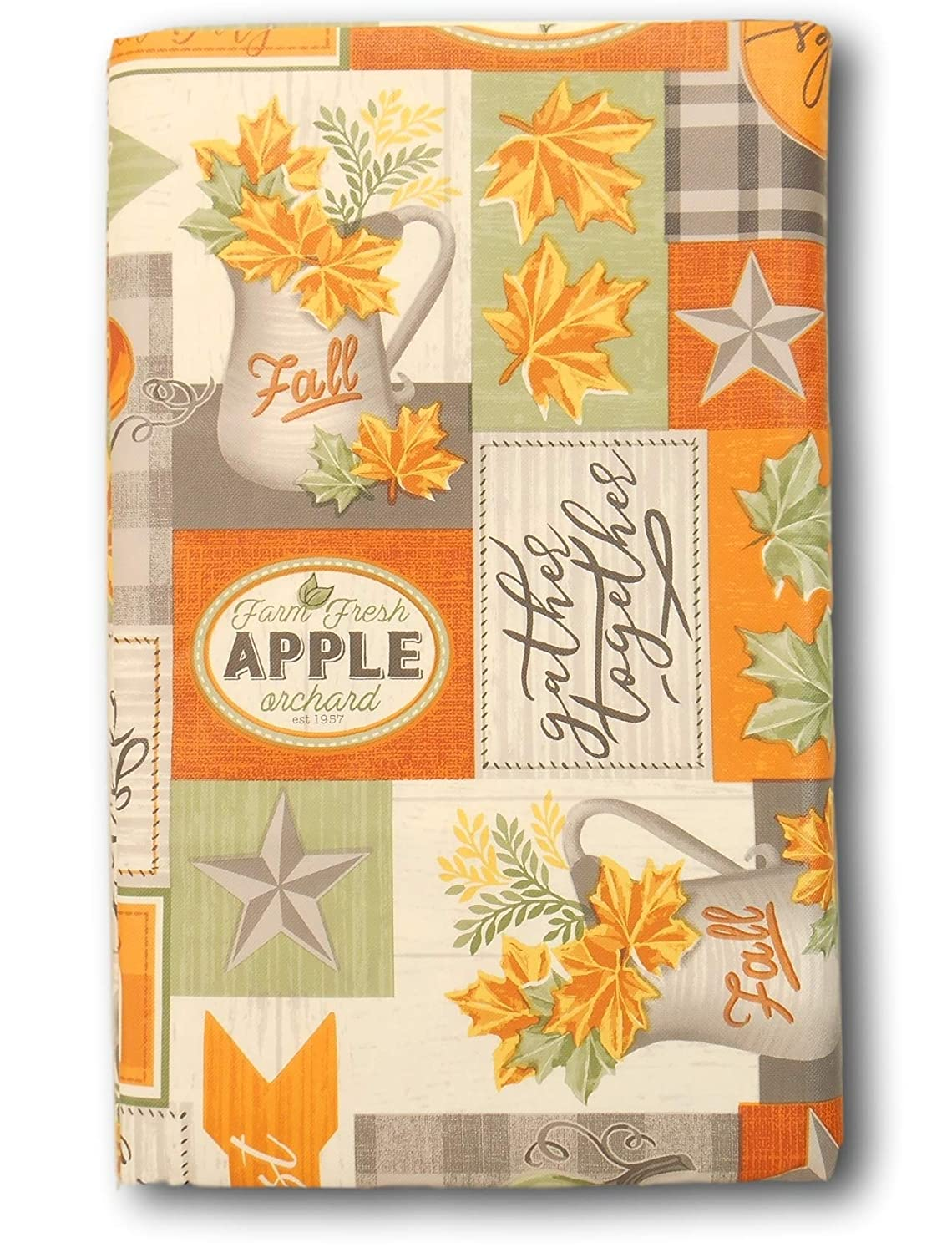 Amazon Com Vinyl Tablecloth Gather Together Fall Patchwork With