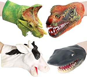 """Rainbow yuango Pack of 4 9.8"""" Realistic Dinosaur Hand Puppets Gloves Soft Vinyl Rubber Animal Shark Cow Head Finger Puppets Theaters Doll Model Toy"""