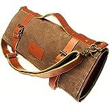 Chef Knife Roll - Knife Bag - Waxed Canvas W/ Natural Leather - Adjustable Shoulder Strap - Dark Oak - Handmade