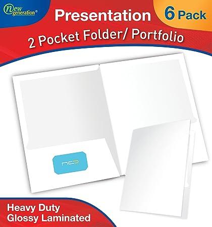 Amazon new generation white 2 pocket folder durable heavy new generation white 2 pocket folder durable heavy duty uv glossy laminated business reheart Image collections