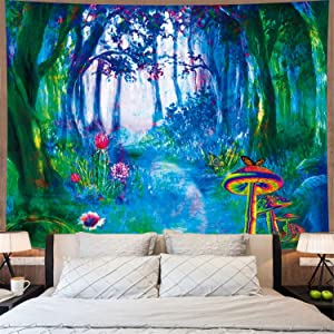 Fantasy Forest Trees Tapestry Trippy Mushroom and Cactus Tapestry Psychedelic Misty Nature Landscape Tapestry Wall Hanging for Bedroom W78×H59