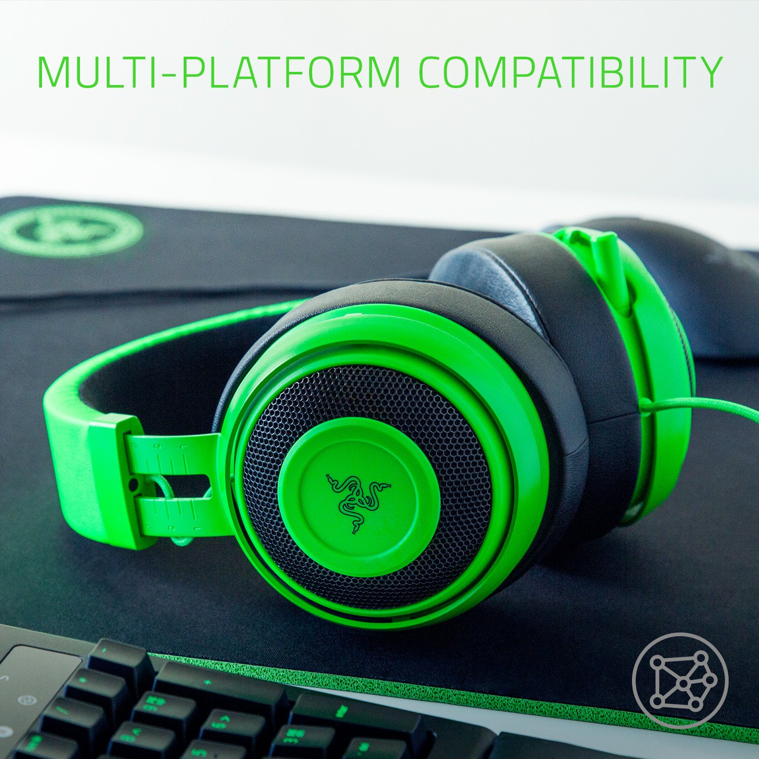 Razer Kraken Pro V2: Lightweight Aluminum Headband - Retractable Mic - In-Line Remote - Gaming Headset Works with PC, PS4, Xbox One, Switch, & Mobile Devices - Green by Razer (Image #7)