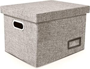Amazons Best Linen File Box Organizer with a Smooth Rail Filing System | File Folder Organizer | Hanging File Box | Collapsible File Storage | Paper Organizer Box | Document Organizer