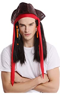 WIG ME UP ® - 90892-ZA1 Peluca & tricornio Halloween Carnaval Mujer Hombre Pirata
