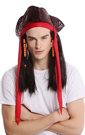 WIG ME UP - 90892-ZA1 Peluca & tricornio Halloween Carnaval mujer hombre Pirata pelo