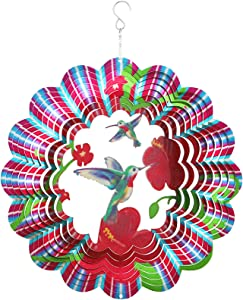 Garden Wind Spinners,3D Hummingbird Wind Spinner Craft Room Decor,Kinetic Spinner Outdoor Metal Large,12inch Bird Hanging Spinner Indoor Yard Decoration,Stainless Steel Wind Sculptures & Spinners
