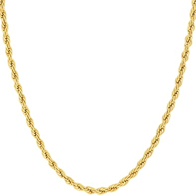 Lifetime Jewelry Gold Necklaces for Women   Men   2mm Rope Chain   with Up  to e7abc48c755