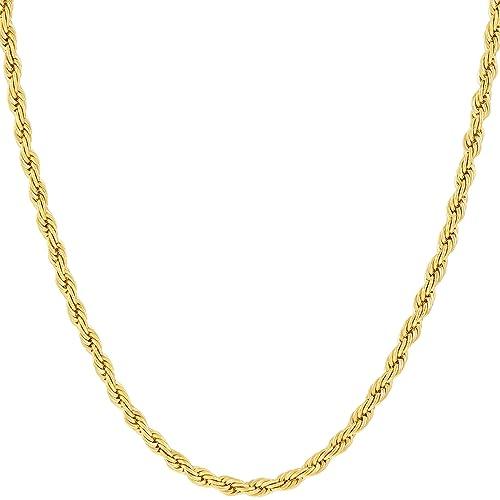 Vida joyas 2mm cuerda cadena, 24K oro con incrustaciones bronce Premium Fashion joyas collar colgante hecho de llevar…