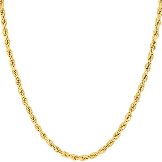 Review Lifetime Jewelry 2MM Rope Chain, 24K Gold with Inlaid Bronze, Premium Fashion Jewelry, Wear Alone or with Pendant, GUARANTEED FOR LIFE, Sizes 16 to 36 Inches