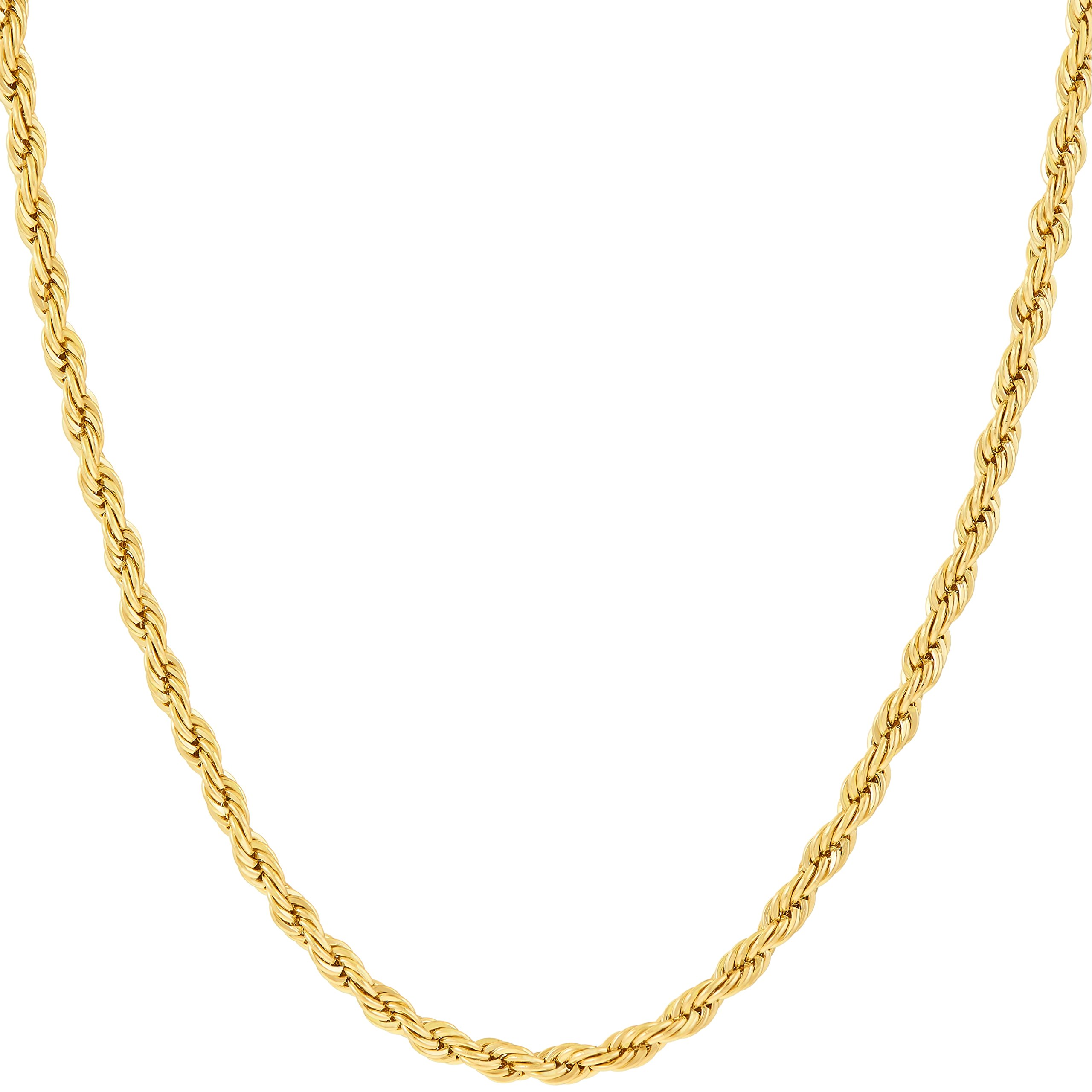 Lifetime Jewelry 2MM Rope Chain, 24K Gold with Inlaid Bronze, Premium Fashion Jewelry, Wear Alone or with Pendant, Guaranteed for Life, 20 Inches