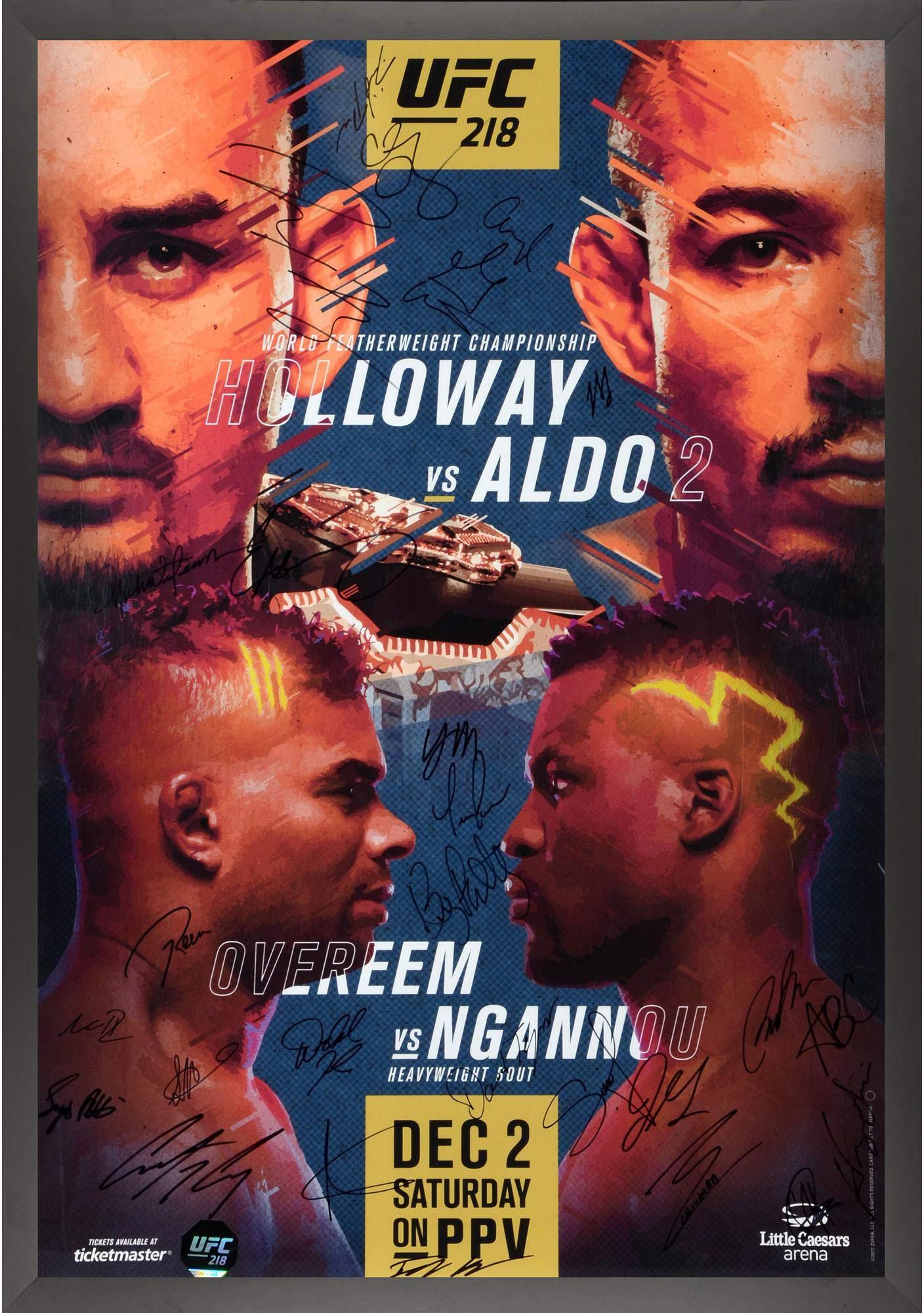 "UFC 218 Holloway vs. Aldo II Framed Autographed 27"" x 39"" 26 Signature Fight Poster Fanatics Authentic Certified"