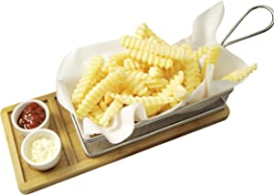 Yukon Glory YG-605 Magnificent Chip & Dip Serving Basket, Bamboo Board, and Sauce Cup Set for French Fries Fried Fish and More