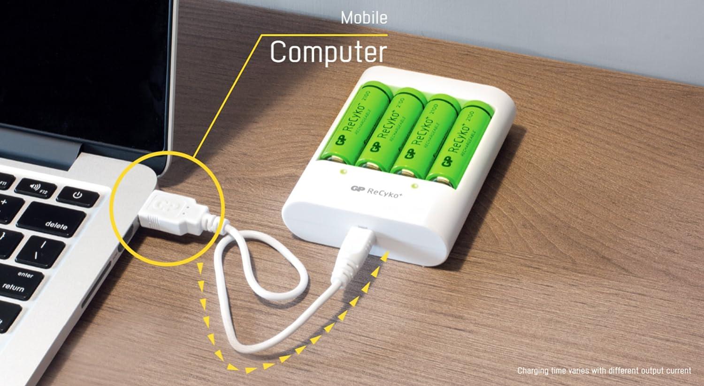GP Batteries cargador de pilas recargables AA y AAA Recyko+ USB | Incluye 4 baterías AA de 2100 mAh y 4 baterías AAA de 850 mAh