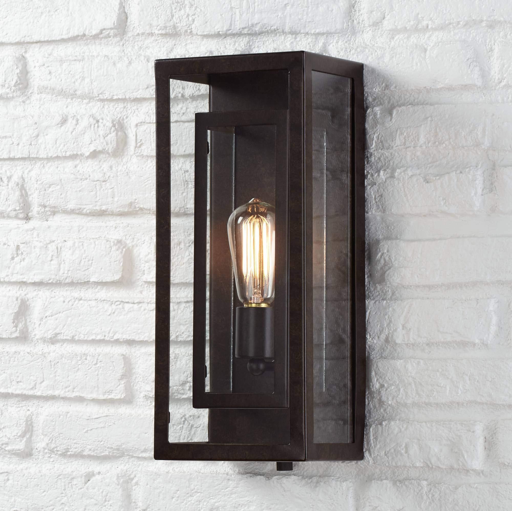Modern Outdoor Wall Light Fixture Bronze Double Box 15 1/2'' Clear Glass Exterior House Deck - Possini Euro Design