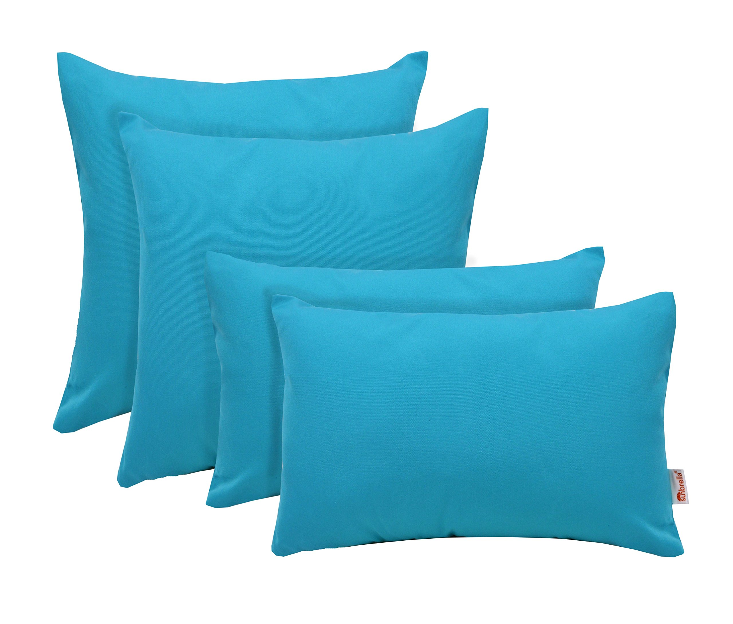 RSH Décor Set of 4 Indoor/Outdoor Square & Rectangle Lumbar Throw Pillows Sunbrella Canvas Aruba (20'' x 12'' & 20'' x 20'')