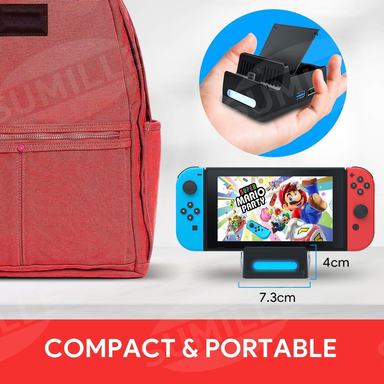 SuMile Switch Dock, Nintendo Switch Base de Carga Portátil para HDMI TV Adaptador para Nintendo Switch con interfaz USB 2.0 3.0 Type-C y ranura para tarjeta para almacenar 4 juegos: Amazon.es: Videojuegos