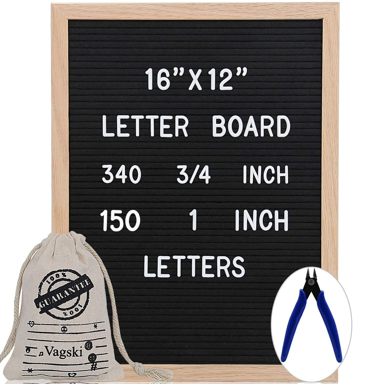 Letter Board 12 x 16 Inches - Vagski Black Felt Letter Board with 490 Letters Numbers & Symbols (150 1'' + 340 ¾''), Changeable Message Board Sign with Oak Wood Frame, Letter Pouch & Scissors VAG047