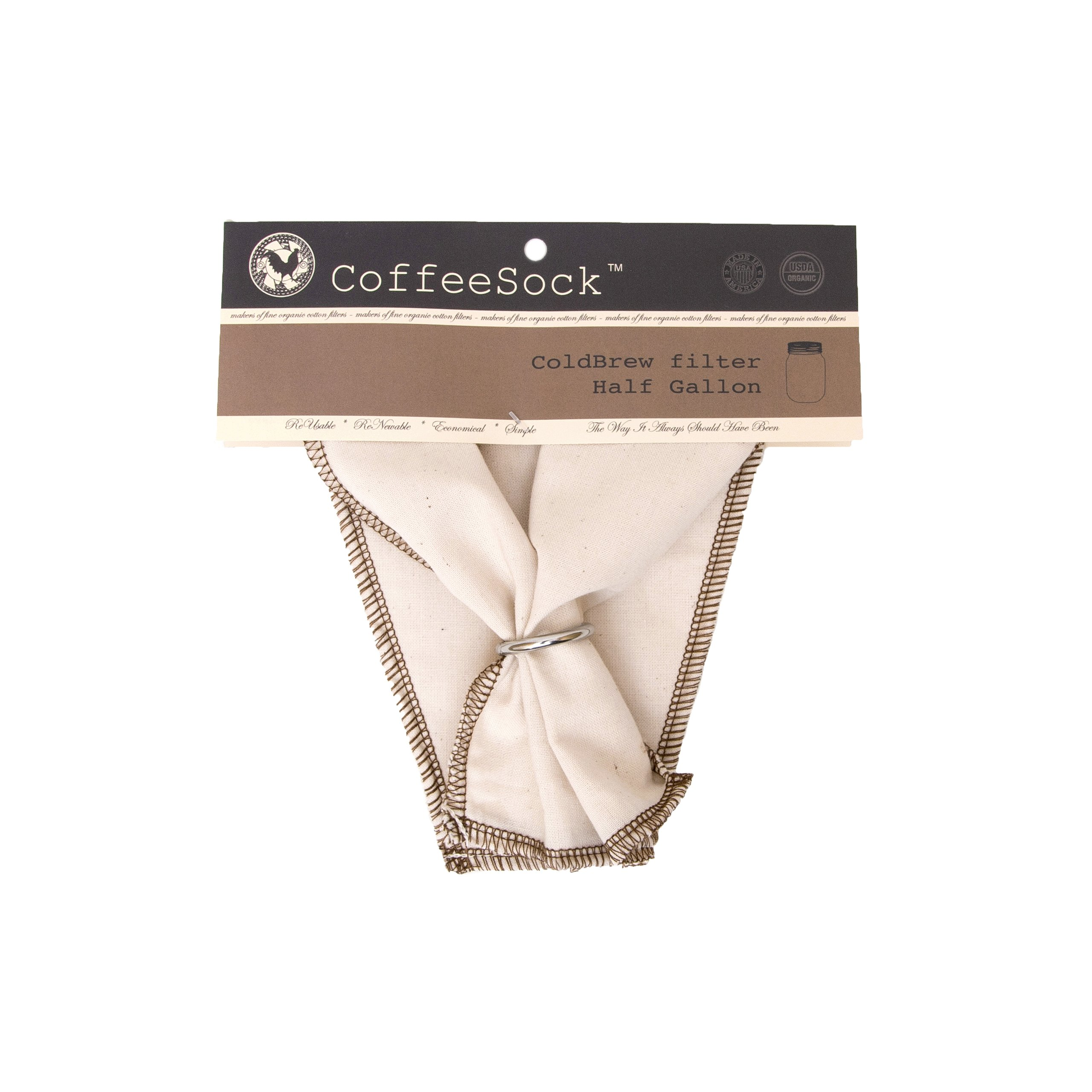 CoffeeSock ColdBrew Filter - GOTS Certified Organic Cotton Reusable Coffee Filter (CB64-01)