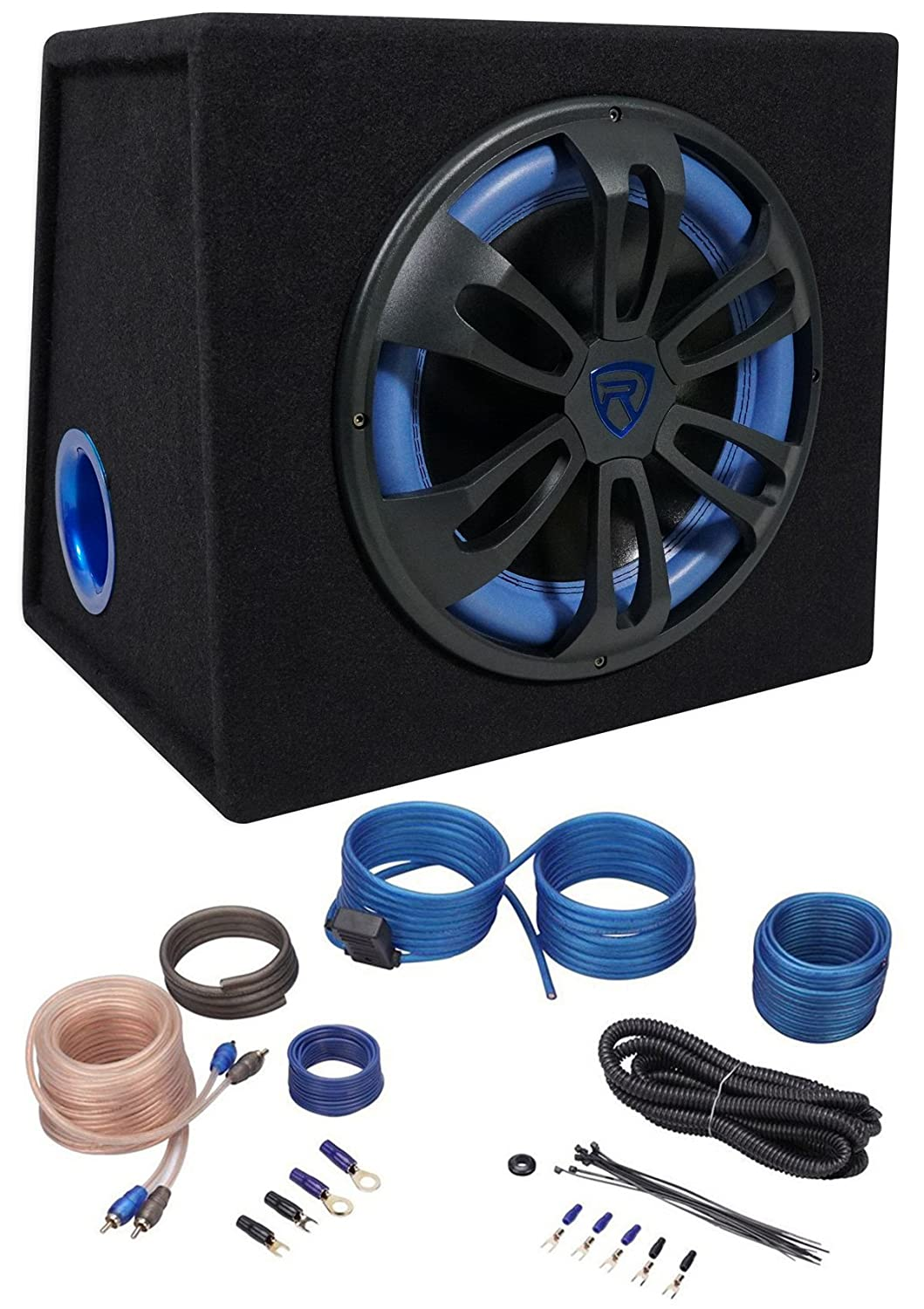 Rockville Rvb121a 12 500w Active Powered Car Subwoofer Boss Kit2 8 Gauge Complete Amplifier Wiring Kit Pair Vminnovations Sub Enclosure Amp Electronics