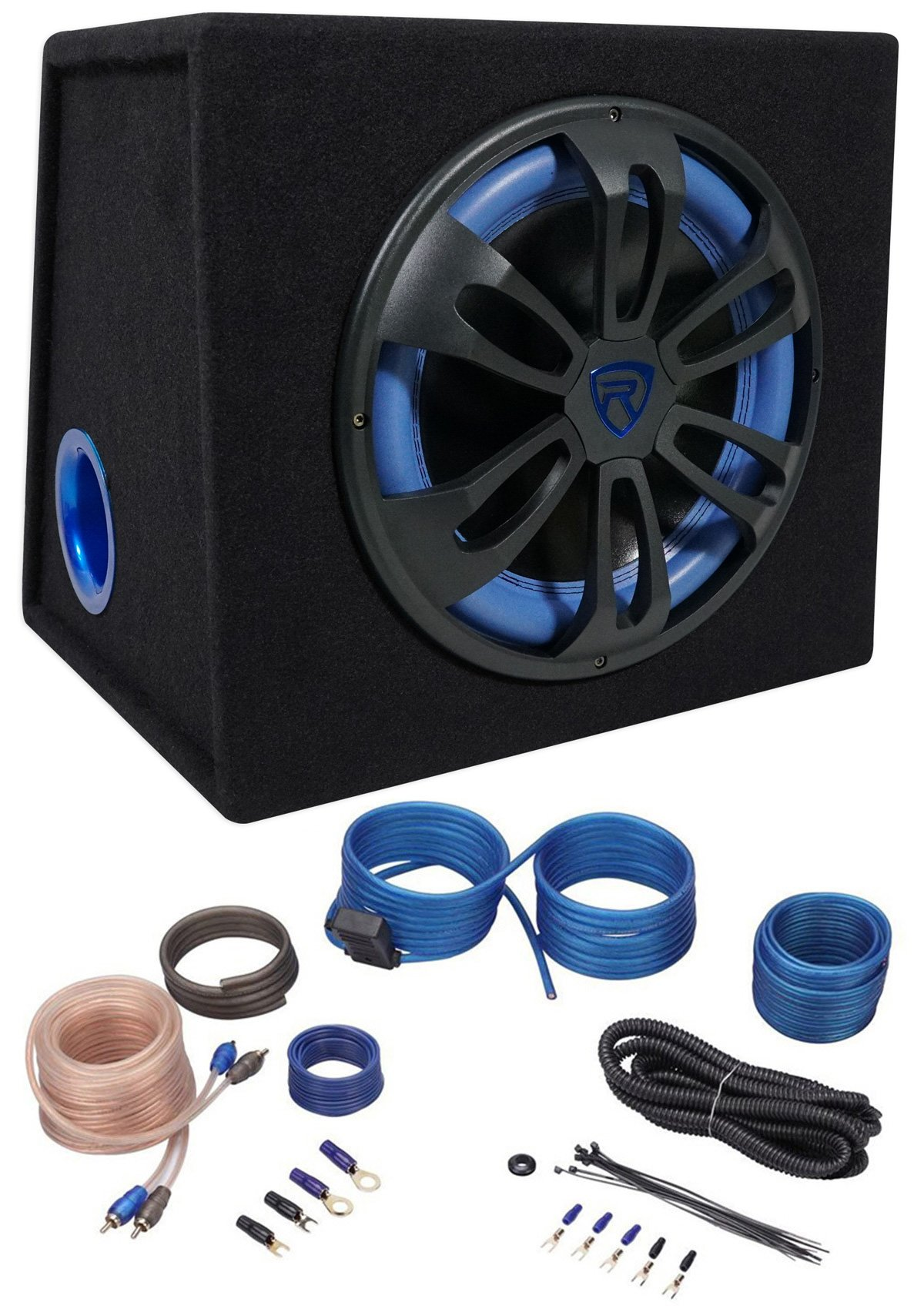 Rockville RVB12.1A 12 500w Active Powered Car Subwoofer+Sub Enclosure+Amp Kit